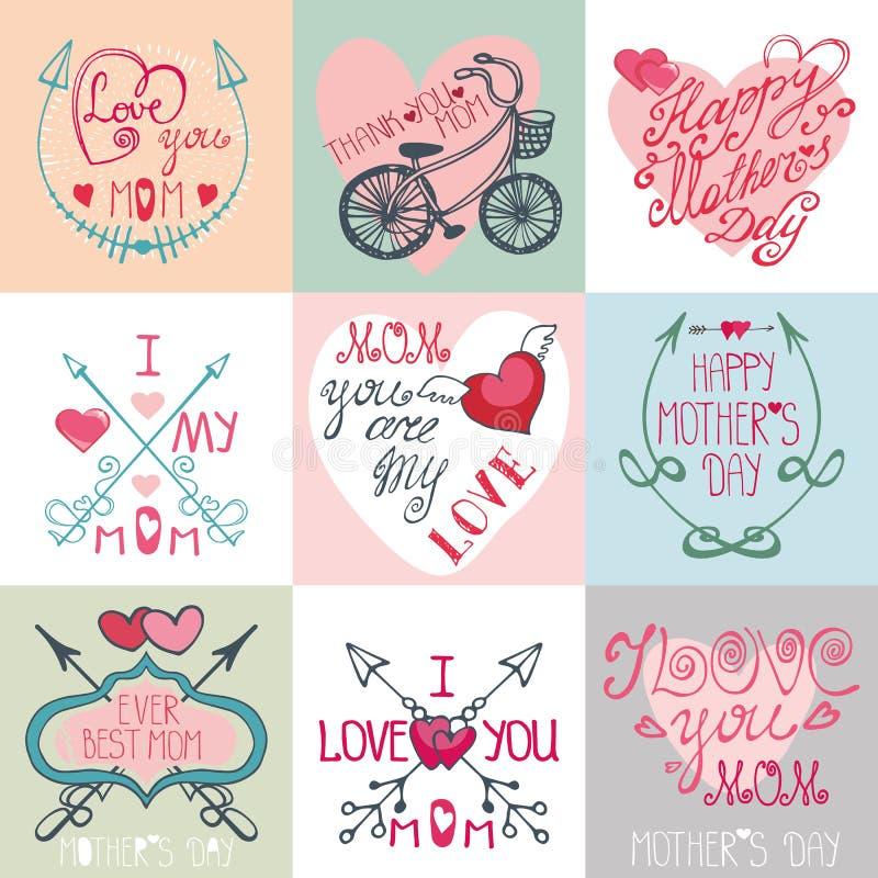 Insieme di carte di giorno di madri Frecce, elementi della decorazione illustrazione di stock