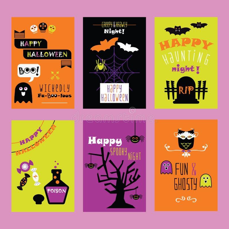 Insieme di carte felice variopinto dell'invito dei bambini di Halloween con le belle icone sveglie del fumetto illustrazione vettoriale