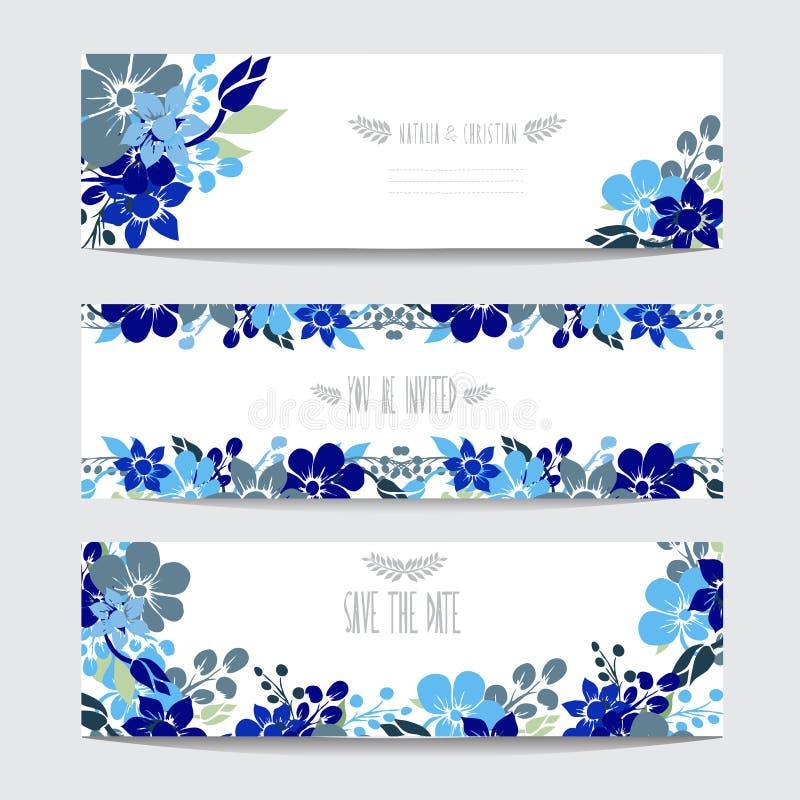 Insieme di carte floreale royalty illustrazione gratis