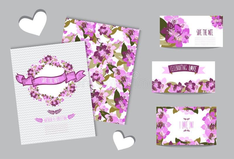 Insieme di carte floreale illustrazione di stock