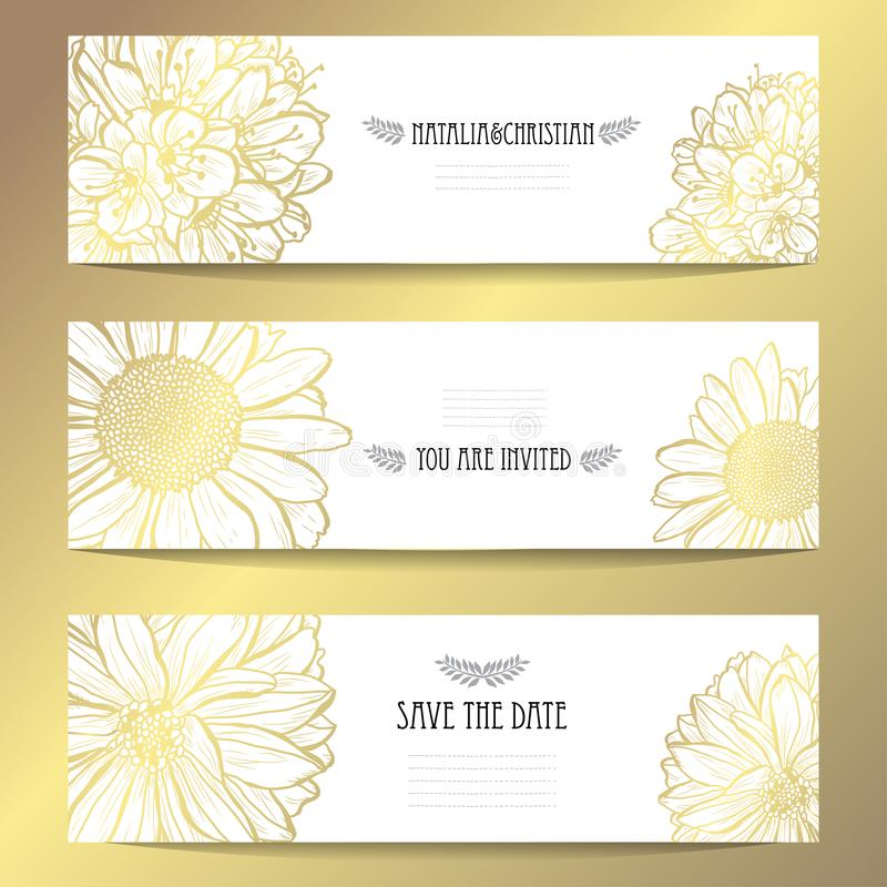 Insieme di carte floreale dorato royalty illustrazione gratis