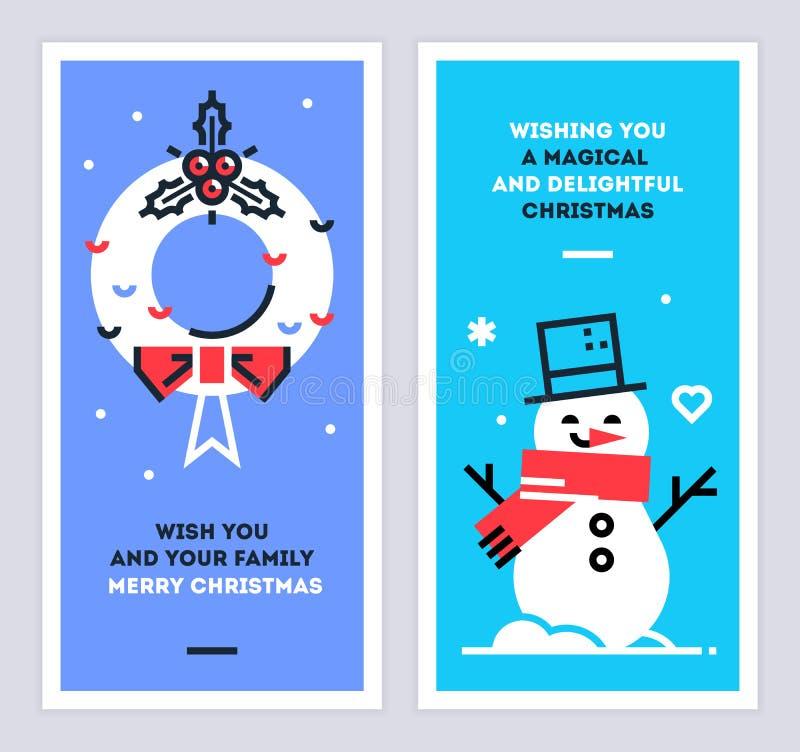 Insieme di carte lineare del nuovo anno e di Natale con il pupazzo di neve e la corona Insieme dei modelli di progettazione di na illustrazione di stock