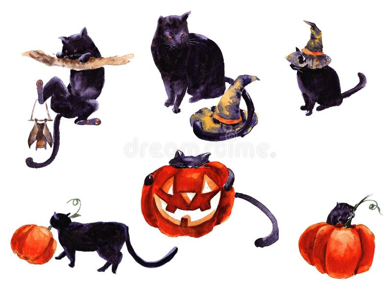 Insieme di Cat Cartoon With Different Actions, Halloween illustrazione di stock