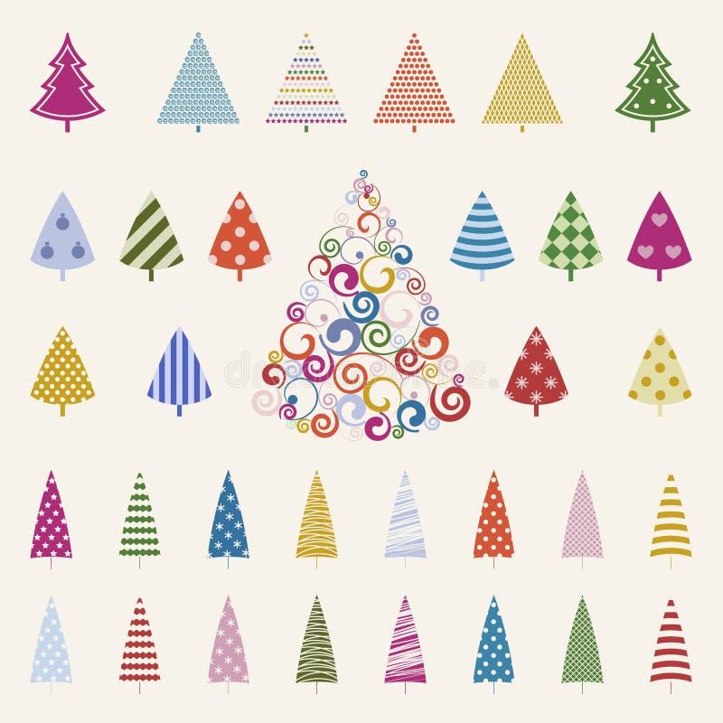 Insieme di celebrazione dei pini della decorazione. royalty illustrazione gratis