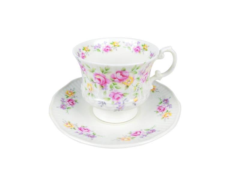 Insieme di cinese delle tazze di tè su fondo bianco fotografie stock