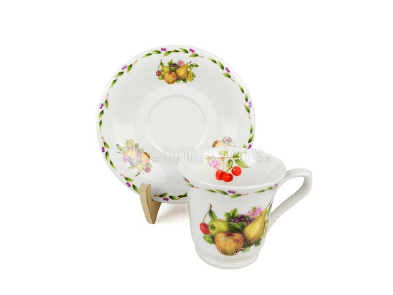 Insieme di cinese delle tazze di tè su fondo bianco fotografie stock libere da diritti