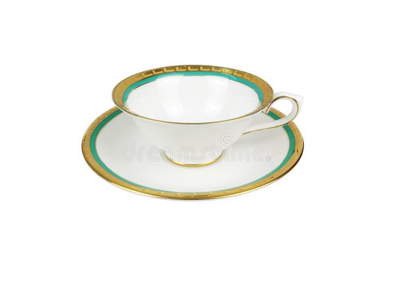 Insieme di cinese delle tazze di tè su fondo bianco immagini stock libere da diritti
