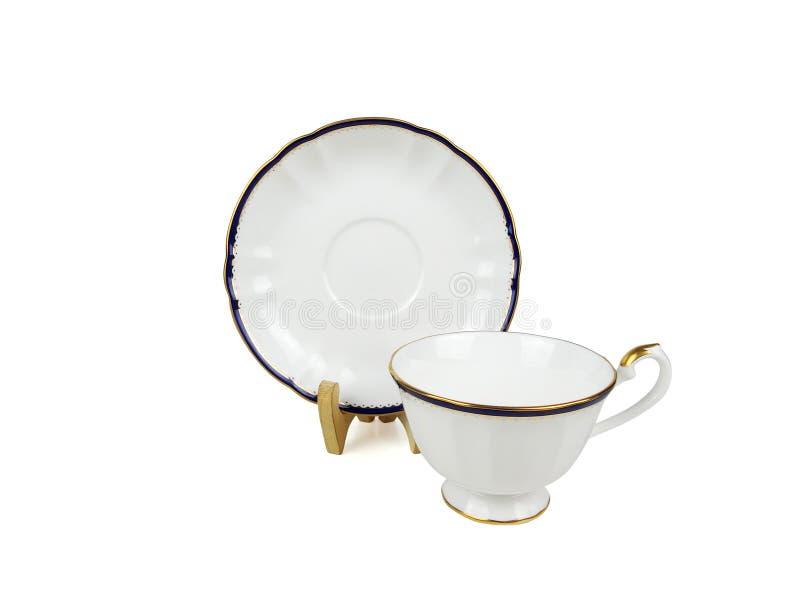 Insieme di cinese delle tazze di tè su fondo bianco fotografia stock libera da diritti