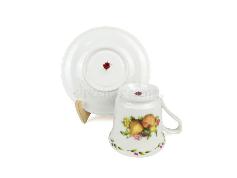 Insieme di cinese delle tazze di tè su fondo bianco immagini stock