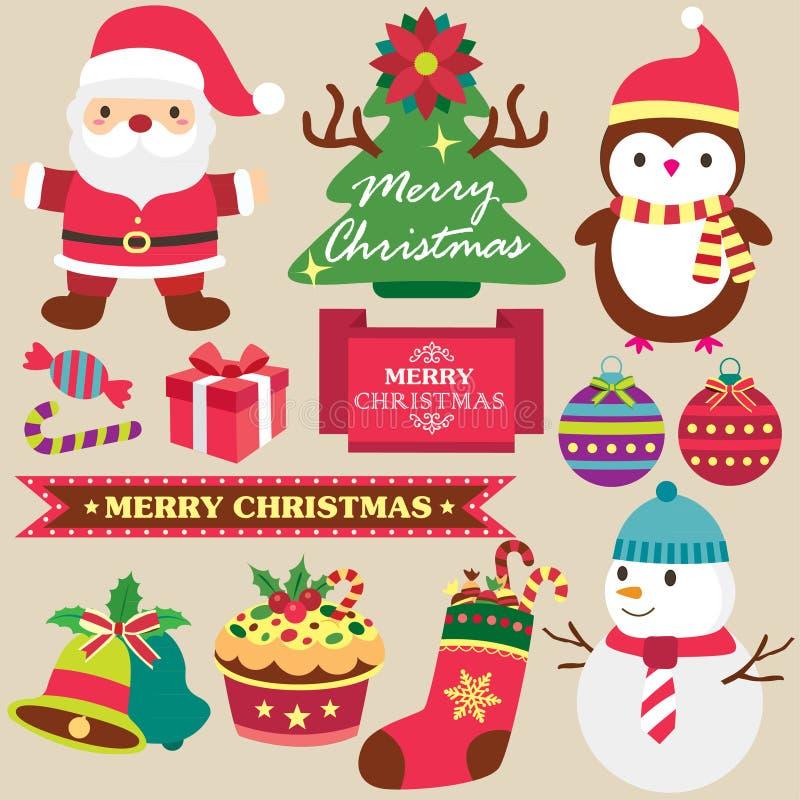 Insieme di clipart di tema di Natale royalty illustrazione gratis