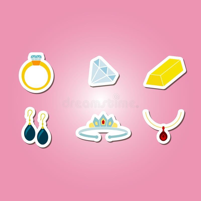 Insieme di colore con le icone dei gioielli illustrazione di stock