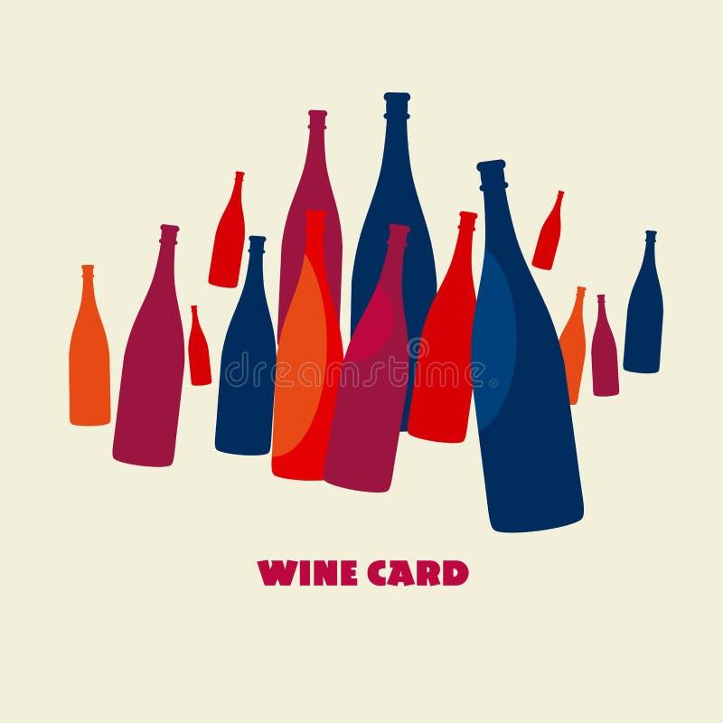 Insieme di colore della bottiglia di vino illustrazione di stock