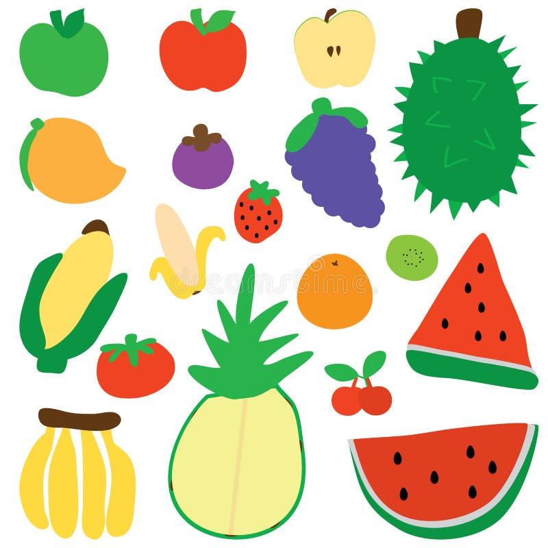 Insieme di colore della siluetta della frutta royalty illustrazione gratis