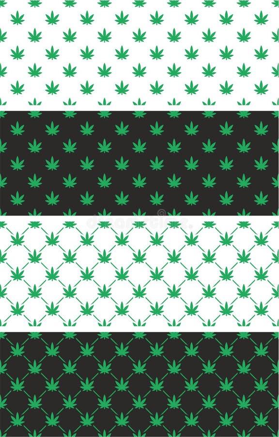 Insieme di colore senza cuciture del modello della foglia della cannabis royalty illustrazione gratis