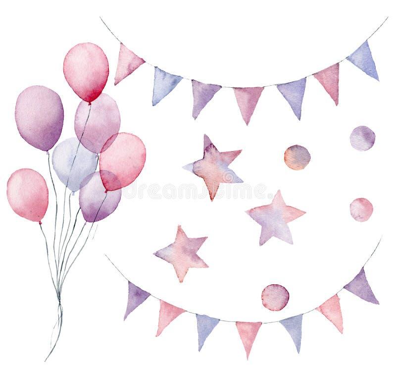 Insieme di compleanno dell'acquerello Aerostato, ghirlande della bandiera, stelle dipinte a mano e coriandoli pastelli isolati su illustrazione vettoriale