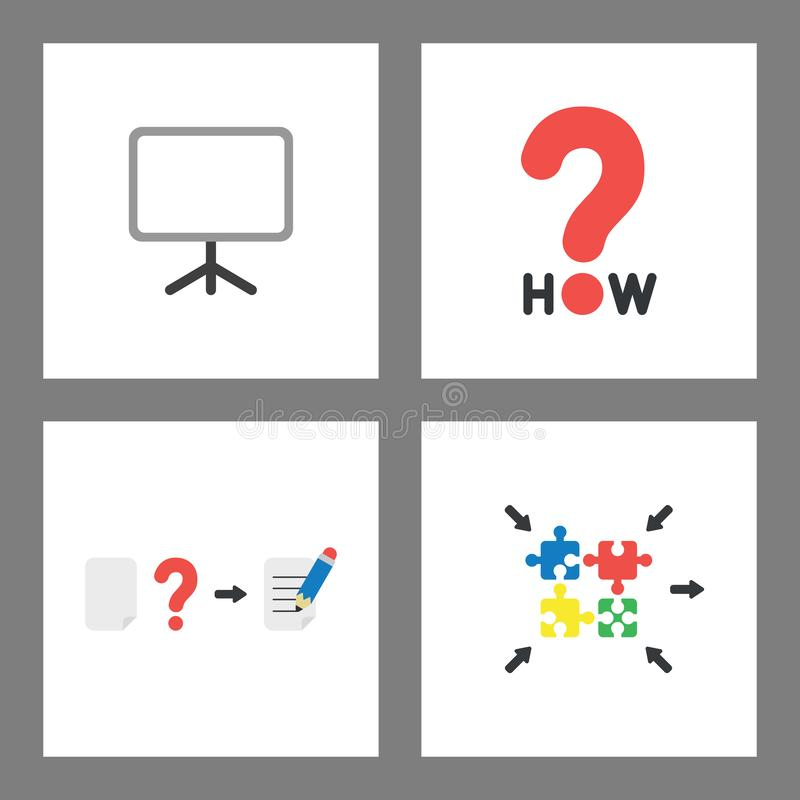 Insieme di concetto dell'icona Grafico di presentazione, come parola e punto interrogativo, scrivendo sulla carta e sul collegame illustrazione di stock