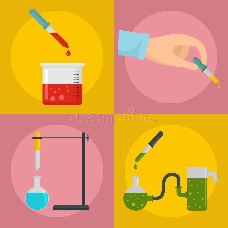 Insieme di concetto dell'insegna del contagoccia della pipetta, stile piano illustrazione vettoriale