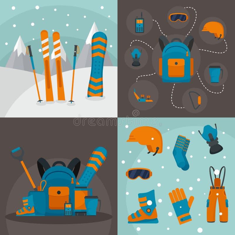 Insieme di concetto dell'insegna del corredo di snowboard, stile piano royalty illustrazione gratis