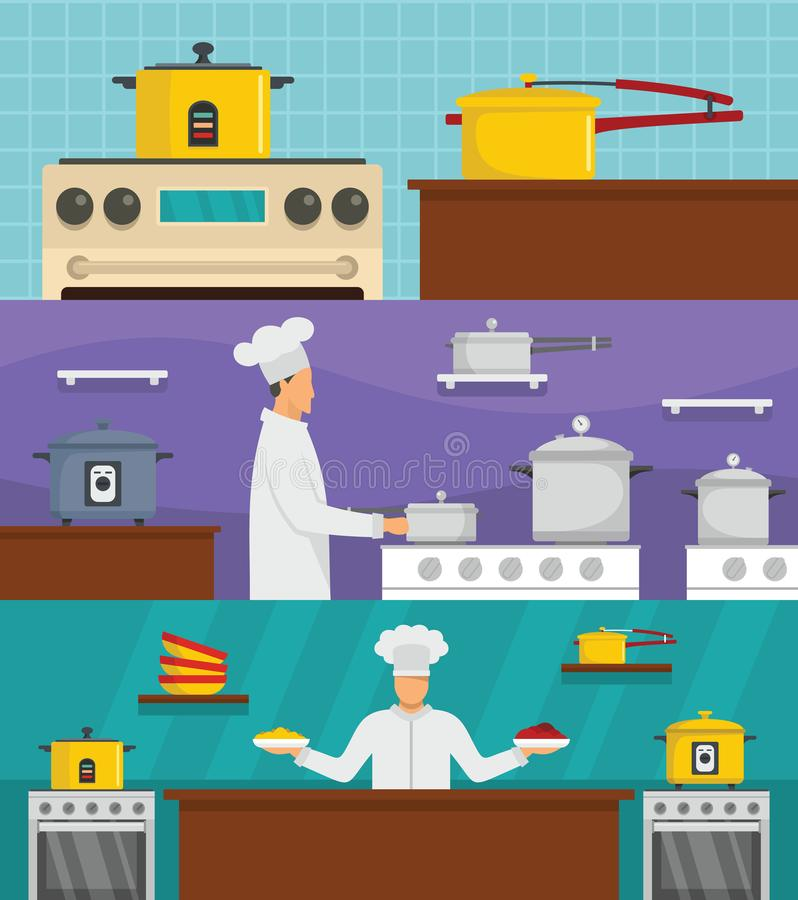 Insieme di concetto dell'insegna del forno del cuoco unico del fornello, stile piano royalty illustrazione gratis