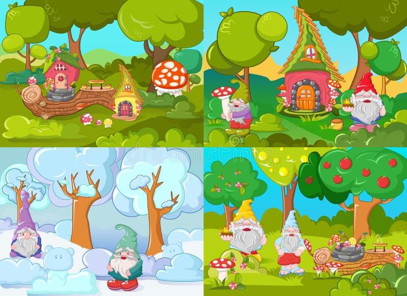 Insieme di concetto dell'insegna del giardino di Gnome, stile del fumetto illustrazione di stock