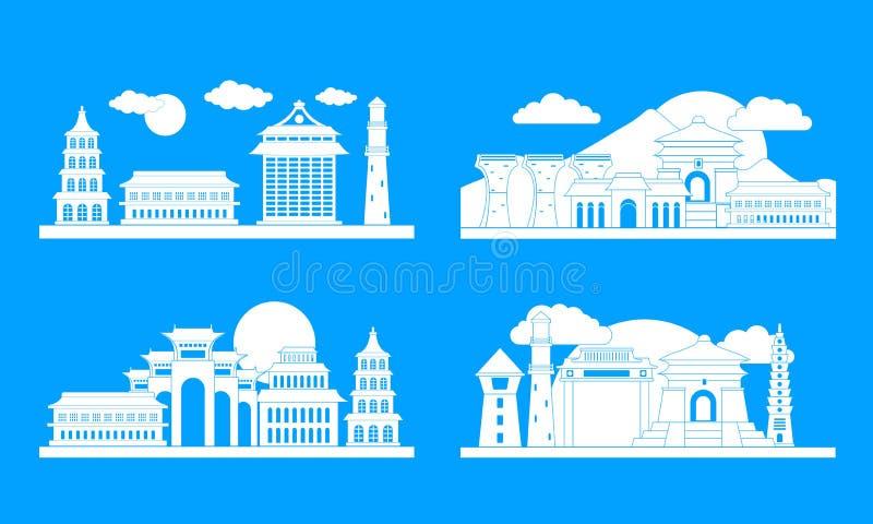 Insieme di concetto dell'insegna di Taipei Taiwan, stile semplice illustrazione vettoriale