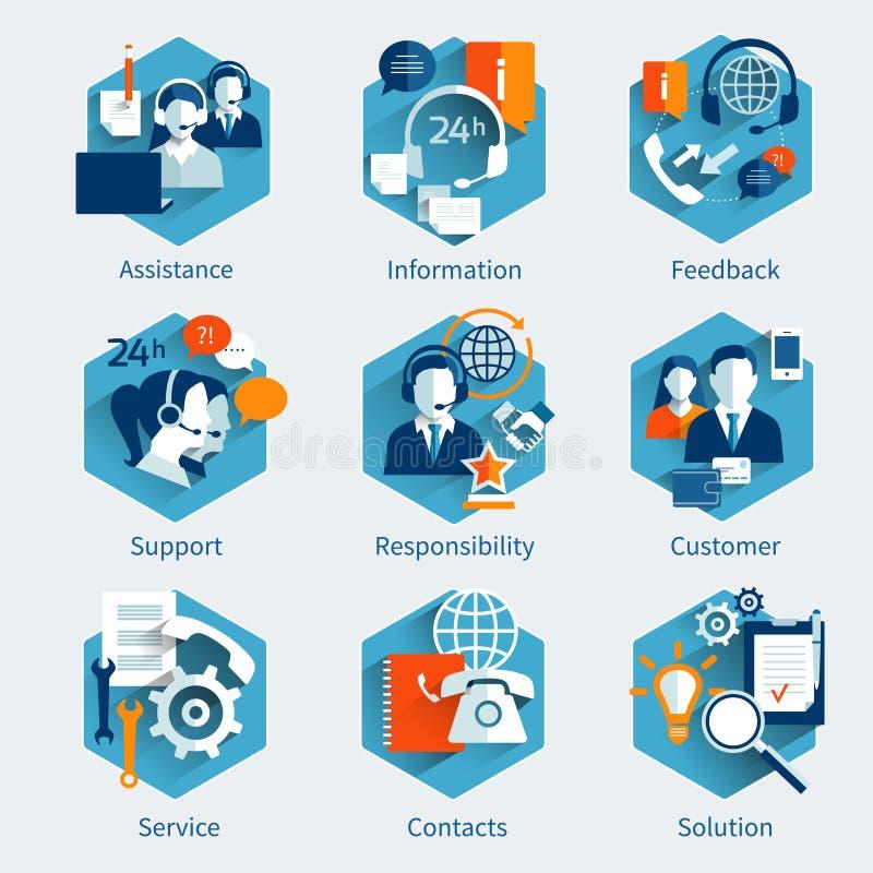 Insieme di concetto di servizio di assistenza al cliente royalty illustrazione gratis