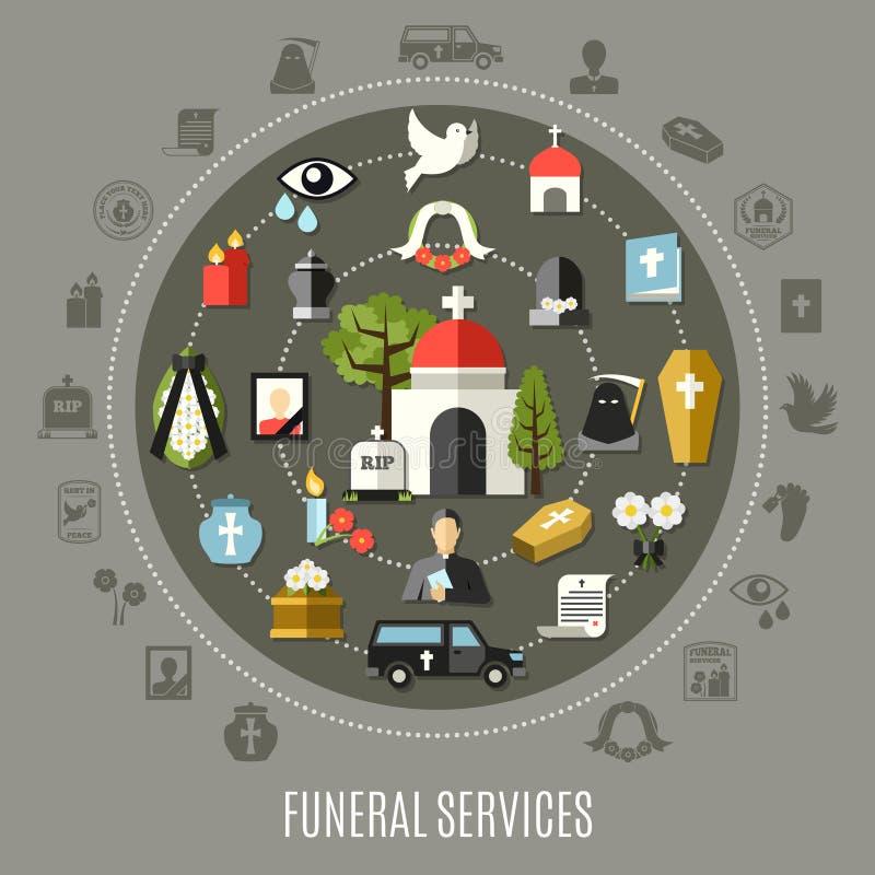 Insieme di concetto di funerali illustrazione vettoriale