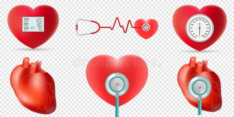 Insieme di concetto di ipertensione e del cuore Illustrazione di vettore illustrazione di stock