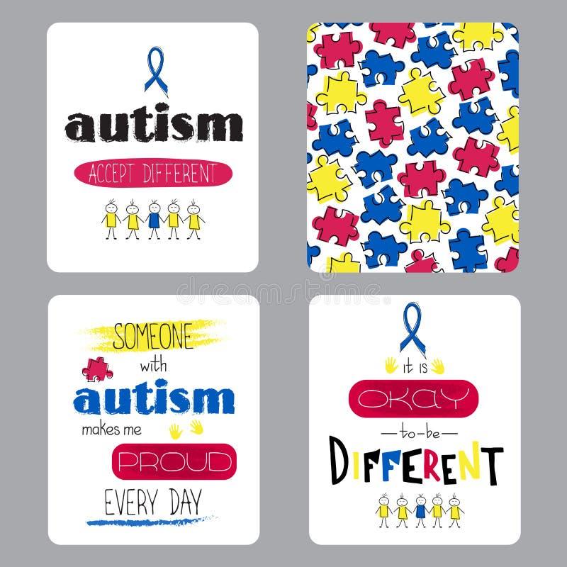 Insieme di consapevolezza di autismo delle carte royalty illustrazione gratis
