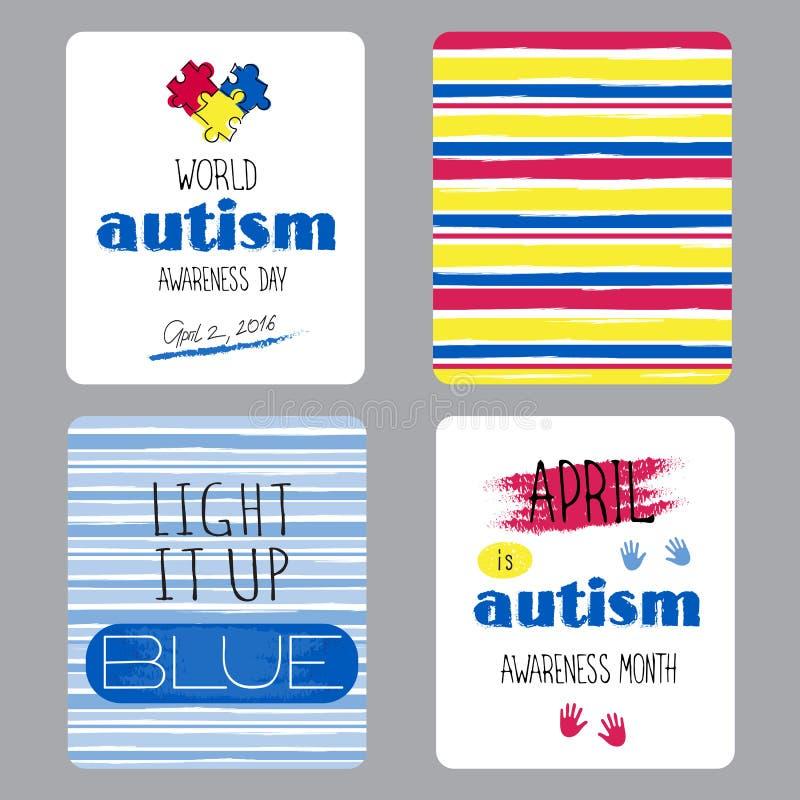 Insieme di consapevolezza di autismo delle carte illustrazione vettoriale