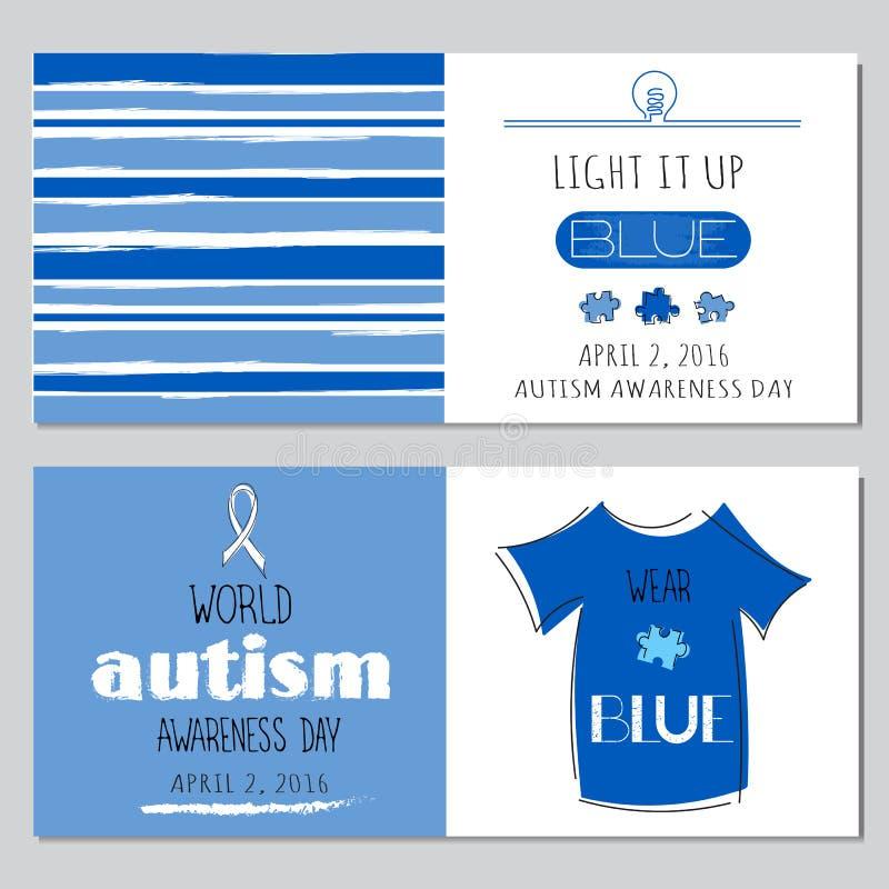 Insieme di consapevolezza di autismo delle insegne royalty illustrazione gratis