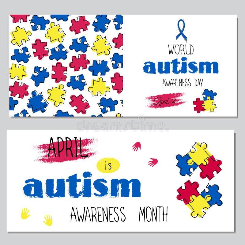 Insieme di consapevolezza di autismo delle insegne illustrazione di stock