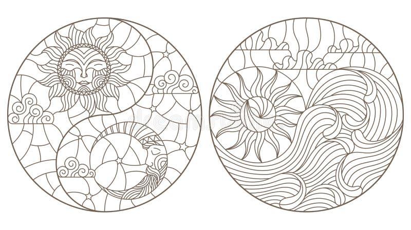 Insieme di contorno con le illustrazioni nel paesaggio dell'estratto del vetro macchiato sotto forma di cerchio, di sole e di lun illustrazione di stock