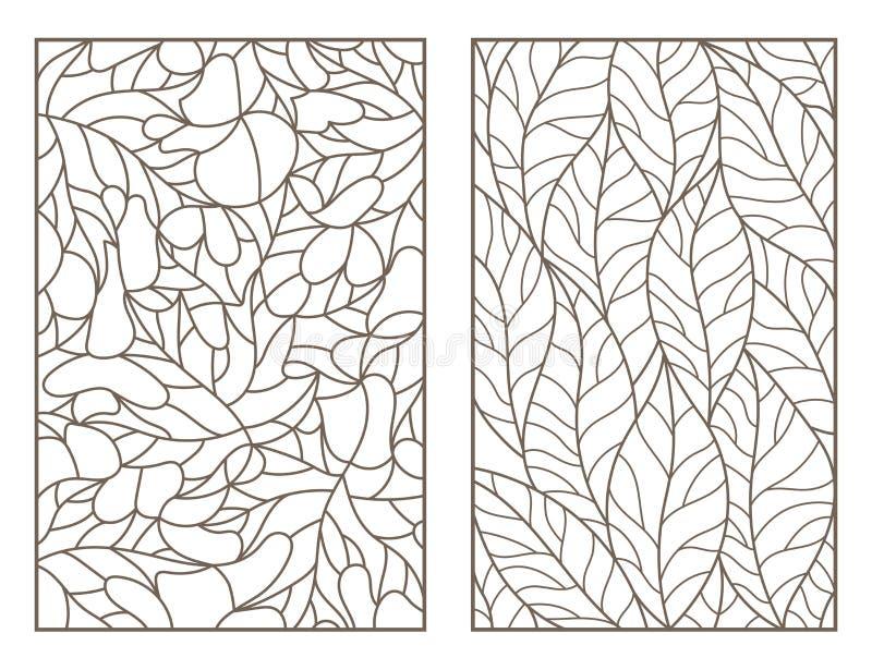 Insieme di contorno con le illustrazioni di vetro macchiato Windows con le foglie degli alberi differenti, profili scuri su fondo royalty illustrazione gratis