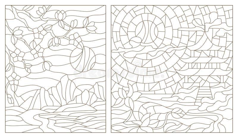 Insieme di contorno delle illustrazioni con i paesaggi orientali royalty illustrazione gratis