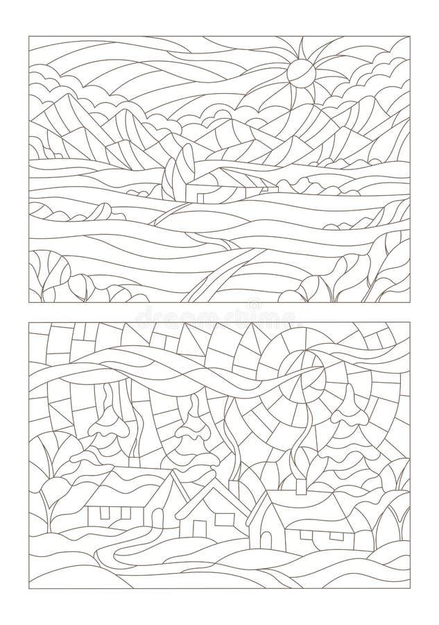 Insieme di contorno delle illustrazioni del vetro macchiato Windows con i paesaggi royalty illustrazione gratis