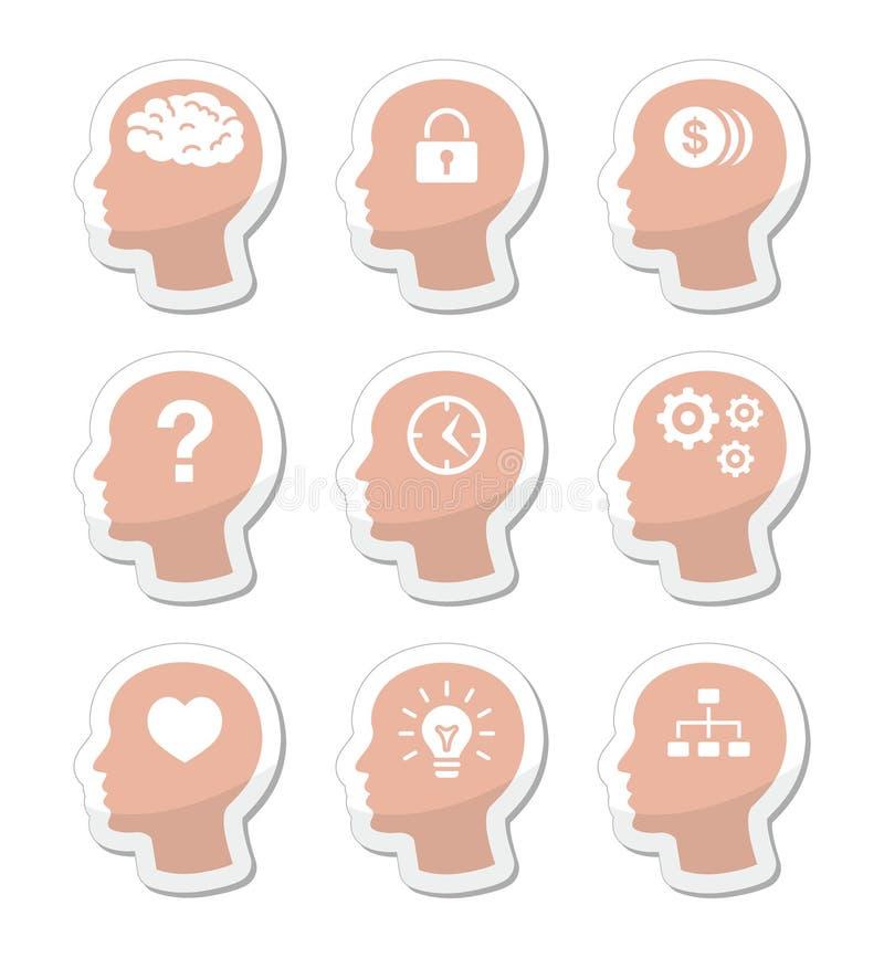 Insieme di contrassegni capo del cervello illustrazione di stock