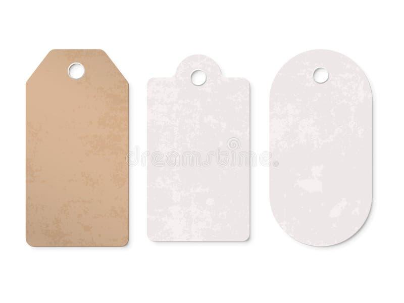 Insieme di contrassegni del prezzo da pagare Pricetag dello spazio in bianco del regalo della carta del cartone di vendita di vet illustrazione vettoriale