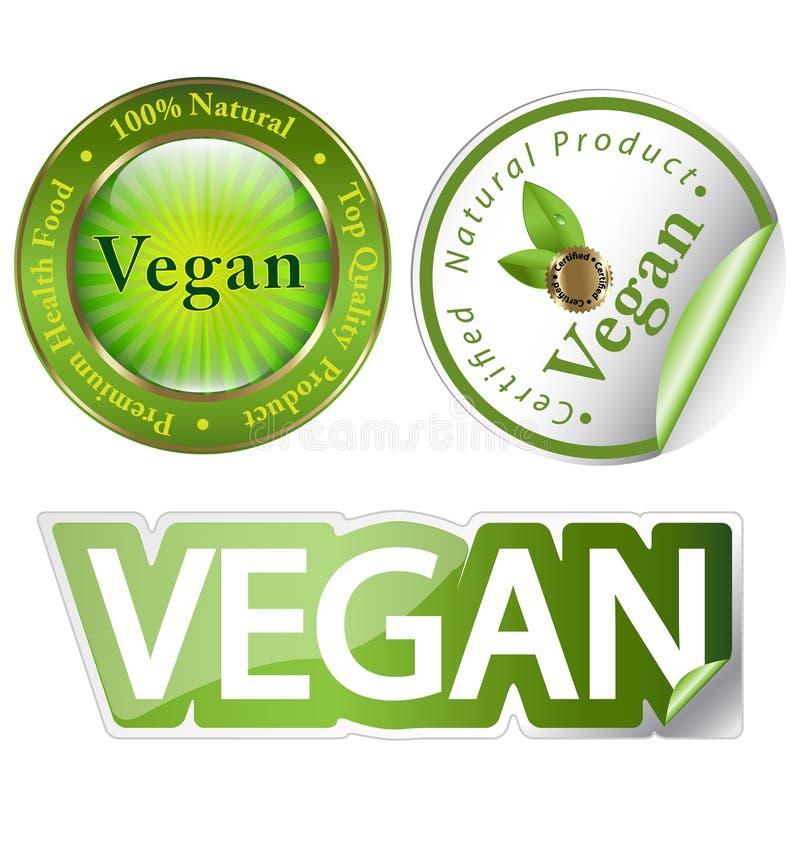 Insieme di contrassegno del Vegan illustrazione vettoriale