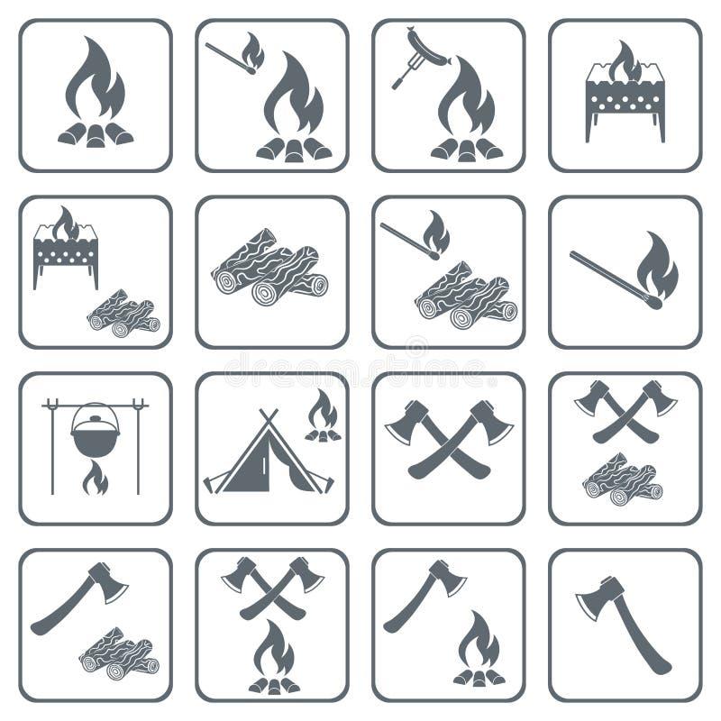 Insieme di cottura sulle icone del fuoco di accampamento illustrazione vettoriale