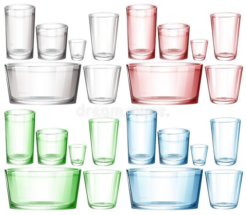 Insieme di cristalleria nei colori differenti royalty illustrazione gratis