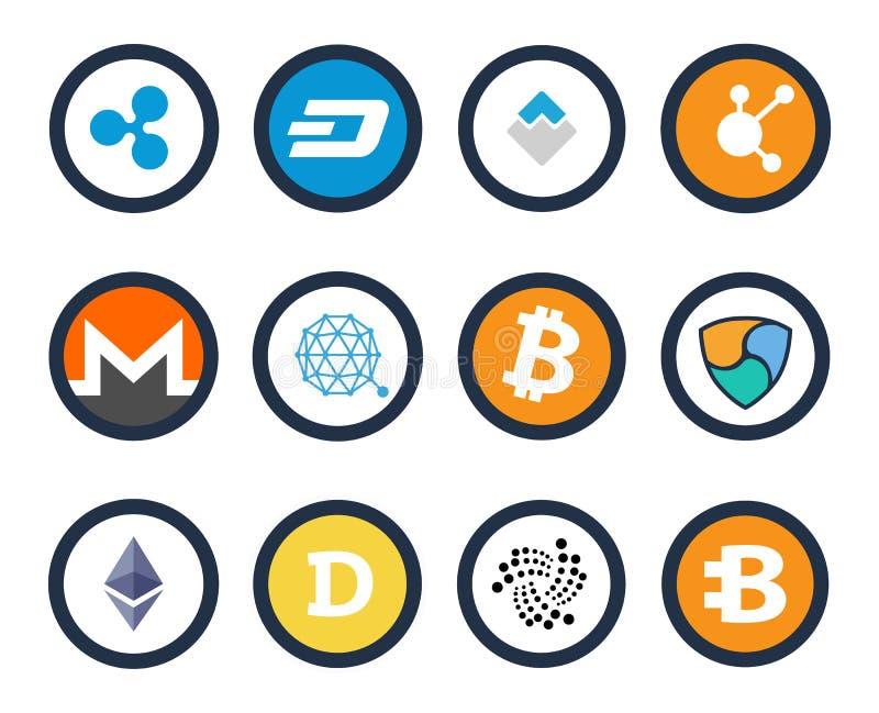Insieme di Cryptocurrency dell'illustrazione di vettore delle icone royalty illustrazione gratis