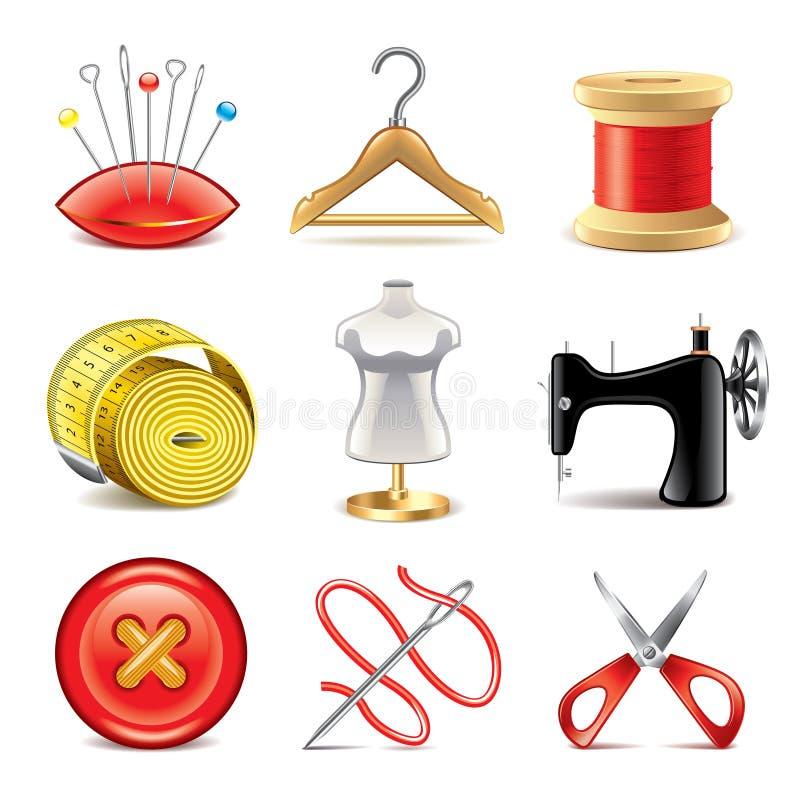 Insieme di cucito di vettore delle icone dell'attrezzatura illustrazione di stock