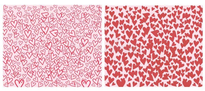 Insieme di cuore con rosso su fondo rosa e bianco illustrazione vettoriale