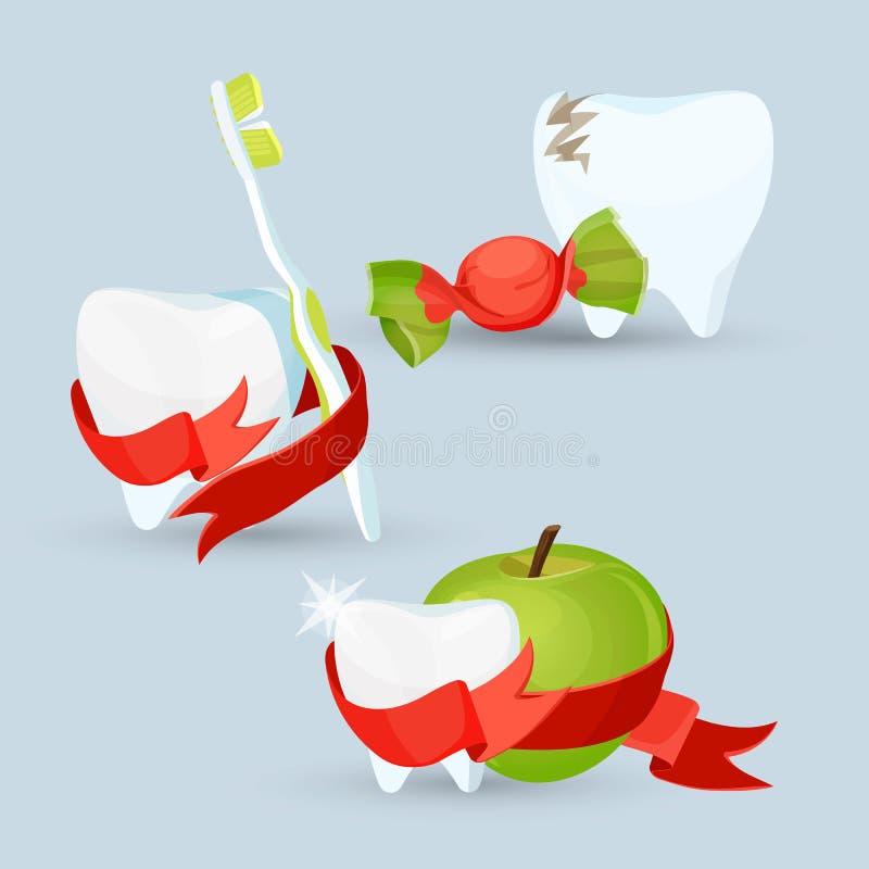Insieme di cure odontoiatriche delle immagini sull'illustrazione di vettore illustrazione vettoriale