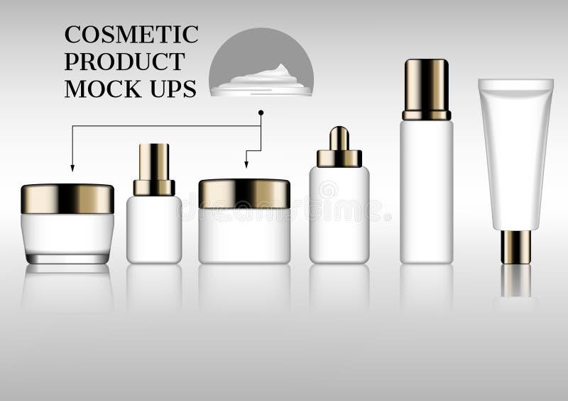 Insieme di derisione di cura di pelle su oggetto del cosmetico di vettore fotografie stock