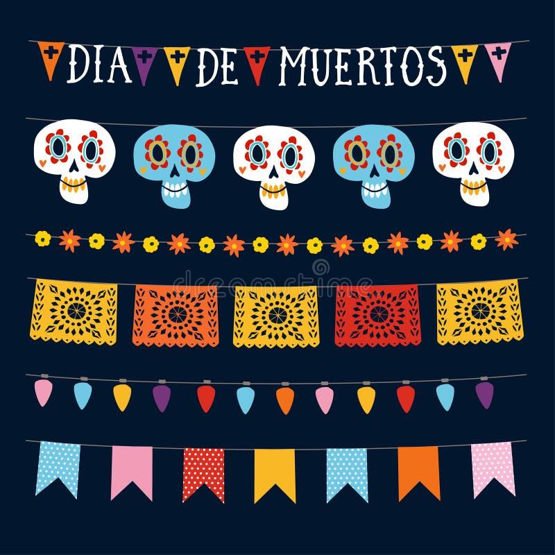 Insieme di Dia de los Muertos, giorno messicano delle ghirlande morte con le luci, le bandiere della stamina, il picado del papel illustrazione vettoriale