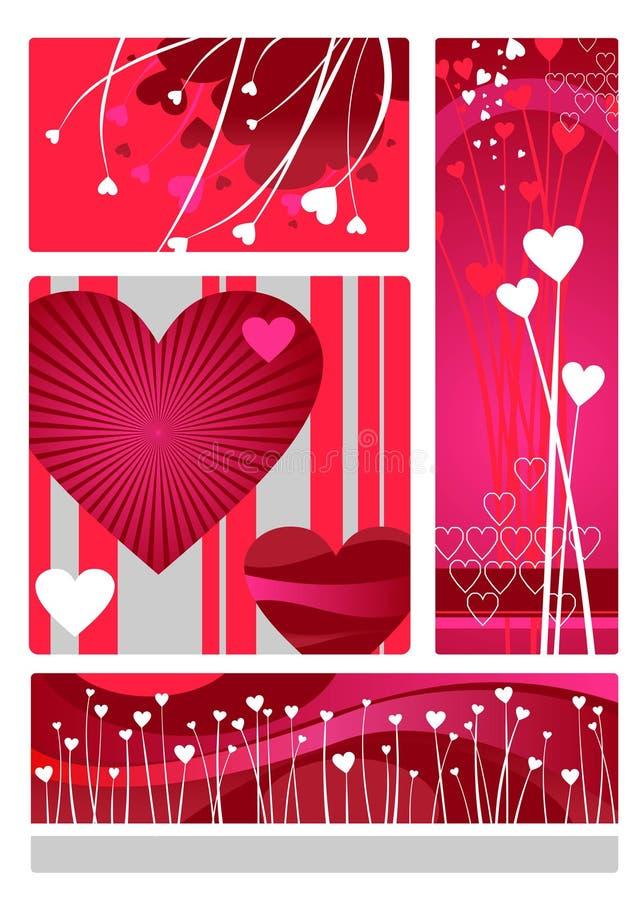 Insieme di disegno dei biglietti di S. Valentino royalty illustrazione gratis