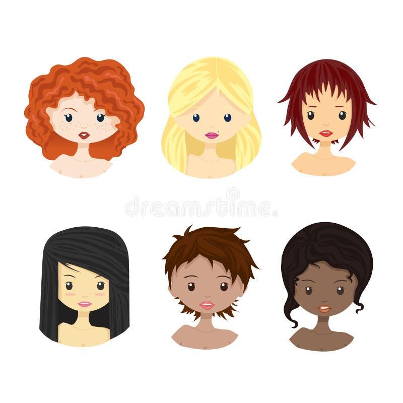 Insieme di diversi avatar femminili della ragazza della donna isolati su fondo bianco Donna con differenti incarnati, colori dei  illustrazione di stock