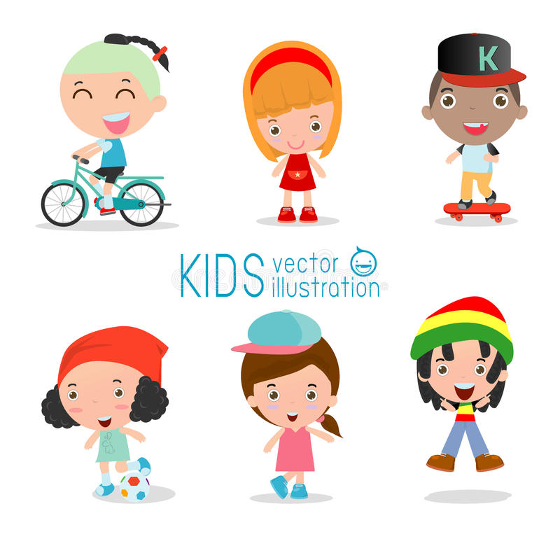 Insieme di diversi bambini isolati su fondo bianco illustrazione di stock